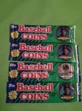 Buy LOT OF 4 1990 TOPPS BASEBALL COINS FACTORY SEALED 3 COINS PER PACK
