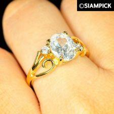 Buy 22k 24k CZ Round Thai Baht Yellow Gold GP Wedding Ring Size 5 7 8 Jewelry R018