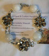Buy flower white Quartz and metal handmade bracelet sizing available