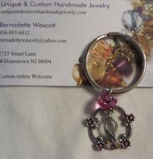 Buy breast cancer awareness hope and love swarovski crystal handmade keyring