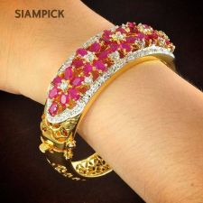 Buy CZ Ruby Gems 22k 24k Thai Baht Yellow Gold Plated Bangle Bracelet Jewelry B030