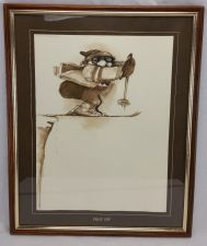"Buy Gary Patterson Ski Print ""Drop Off"" Vintage 1980 signed Framed BIG 18 x 20"