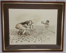 "Buy Gary Patterson Tennis Print ""The Lesson"" Vintage 1980 signed Framed BIG 18 x 20"