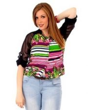 Buy Sheer Long Sleeve Plus Size Tropical Floral Top 1X