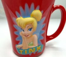 "Buy Tinkerbell ""Tink"" Disney Store 3D Coffee Mug 16 oz Red Collectible Red Kitchen"