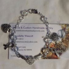 Buy lung cancer awareness hearts and ribbons handmade bracelet sizing available