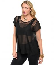 Buy Women Plus Size Black Short Sleeve Sheer Lace Chiffon Top Causal Night-out Top