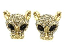 Buy ANIMAL COUGAR LEOPARD EARRING POST PIN METAL CRYSTAL STONE PAVED