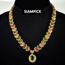 Buy 22k 24k Sapphire RUBY Multi Color CZ Thai Baht Yellow Gold GP Necklace Earrings