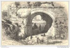 Buy ISRAEL - GATE OF ANCIENT HOLY MARY CONVENT - engraving from 1860