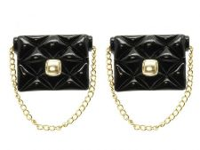 Buy Black Handbag Purse Earrings with Gold Chain Black Earrings Chain Earrings 1.5'