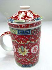 Buy 3 Pcs Set Chinese Tea Cup Mug & Infuser & Lid Red Lotus Flower Oriental Kitchen