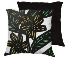 Buy Mcclenningham 18x18 Yellow Green Black Pillow Flowers Floral Botanical Cover Cushion