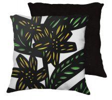 Buy Mcclenningham 18x18 Yellow Green Black Pillow Flowers Floral Botanical Cover Cushion