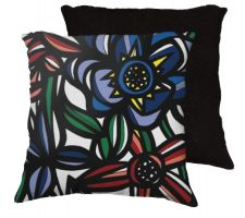 Buy 22x22 Newball Blue Red Black Pillow Flowers Floral Botanical Cover Cushion Case Throw