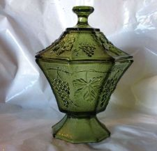 Buy Vintage Anchor Hocking Green Grape Leaf Candy Dish