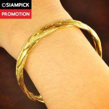 Buy Thai 22k 24k Baht Yellow Gold Plated Braid Bracelet Bangle Dangle Jewelry B002