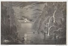 Buy CHINA - NIGHT TIME CROSSING OF I-CHANG GORGE - engraving from 1873