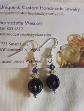 Buy purple czech glass handmade earrings