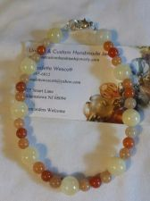 Buy red aventurine and calcite handmade anklet sizing available
