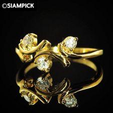 Buy CZ Round Wedding Ring 24k Thai Baht Yellow Gold GP Size 6.5 Vintage Jewelry 17
