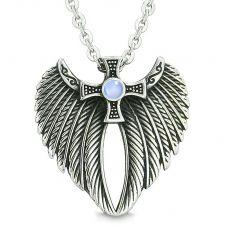 Buy Angel Wings Celtic Viking Cross Magic Powers Amulet Sky Blue Simulated Cats Eye Penda