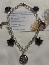 Buy star and moons black crystal pewter silver plated handmade anklet sizing avail.