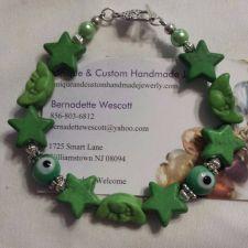 Buy star and moon evil eye green handmade bracelet, sizing available