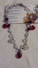 Buy heart red and clear swarovski and glass handmade anklet, custom sizing available