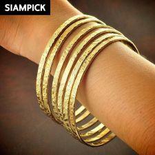 Buy 6x Stack Thai Baht 22k 24k Yellow Gold Plated GP Bangle Bracelet Jewelry B106