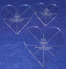 """Buy Laser Cut Quilt Templates - 1/4"""" Acrylic-Clear - 3 piece Heart Set w/guidelines"""