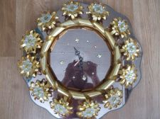 Buy Vintage Tacky 70's Retro Wall Clock Metal Beaded Bows Gold Toned Smoky Mirrored