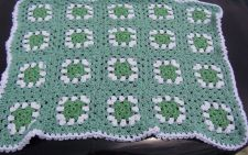 Buy Hand Crocheted Greens and White Granny Square Baby afghan Throw Cover