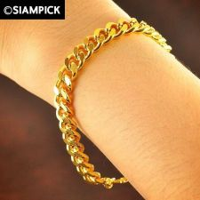 Buy Thai 22k 24k Baht Yellow Gold Plated GP Curb Bracelet Chain Bangle Jewelry B010