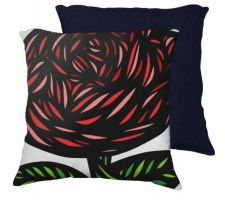 Buy Giannini 18X18 Red Green Flowers Floral Botanical Blue Back Cushion Case Throw Pillow
