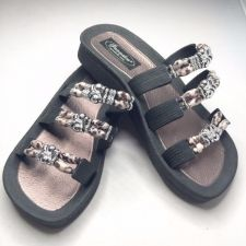 Buy Grandco Cheetah Jeweled Sandals Flip Flop Slide Pools Beach Resort Black