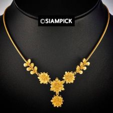 "Buy 18"" Thai Baht 22k 24k Yellow Gold Plated GP Pendant Chain Necklace Jewelry N047"