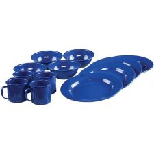 Buy 12 Pieces Blue Enamelware Dining Kitchen Camping Cooking Bowls, Plate & Mugs Set