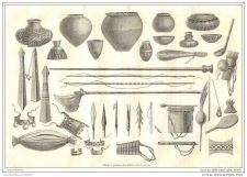 Buy PERU - CHONTAQUIROS INDIANS WEAPONS & POTTERY - engraving from 1864