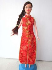 Buy RED CHEONGSAM DRESS UP FANCY GROWN CLOTHES HANDMADE FASHION FOR BARBIE DOLLS 12""