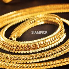 "Buy 24"" Thai Baht 22k 24k Yellow Gold Plated GP Chain Link Necklace Jewelry New N010"