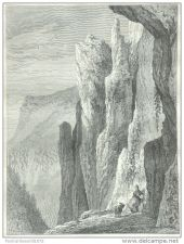 Buy THURINGIA (GERMANY) - ROCKS OF THORSTEIN - engraving from 1872