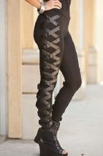 Buy Sexy Trendy Clubwear Black Leggings With Faux Leather Design S,M,L