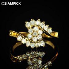 Buy 24k CZ Round Wedding Ring Thai Baht Yellow Gold GP Size 8 Fashion Jewelry 20