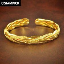 Buy 24k Braided Thai Baht Yellow Gold GP Bangle Bracelet Dangle Vintage Jewelry GF 2