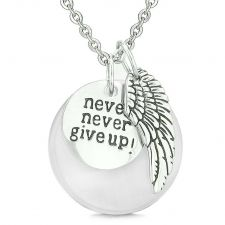 Buy Angel Wing Inspirational Never Never Give Up Amulet White Simulated Cats Eye Pendant