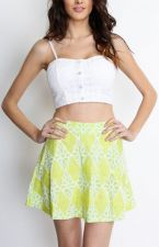 Buy WOMEN FASHION TRENDY CASUAL LACE CHECKER LIME GREEN SKATER SKIRT S,L