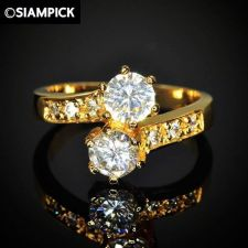 Buy 24k CZ Round Wedding Ring Thai Baht Yellow Gold GP Size 6.5 Vintage Jewelry 15