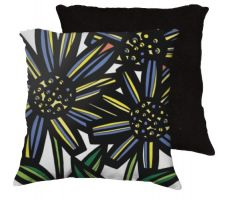Buy 22x22 Vandezande Yellow Blue Black Pillow Flowers Floral Botanical Cover Cushion Case