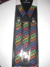 Buy New Suspenders Peace Sign neon adult elastic leather Y back metal clip